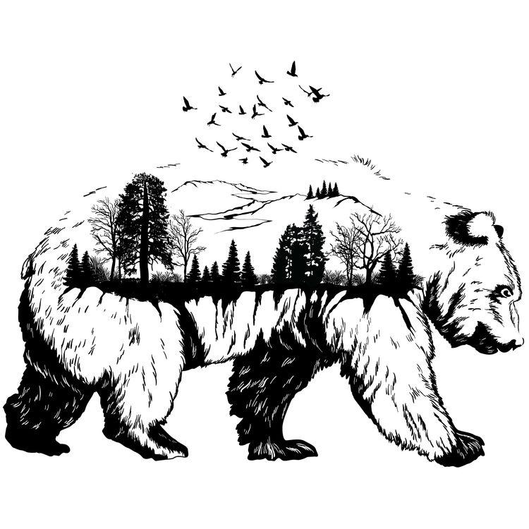 Black Ink Forest Bear