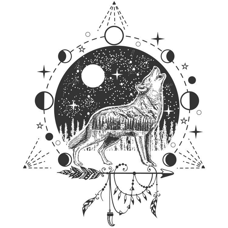 Moon Howling Wolf
