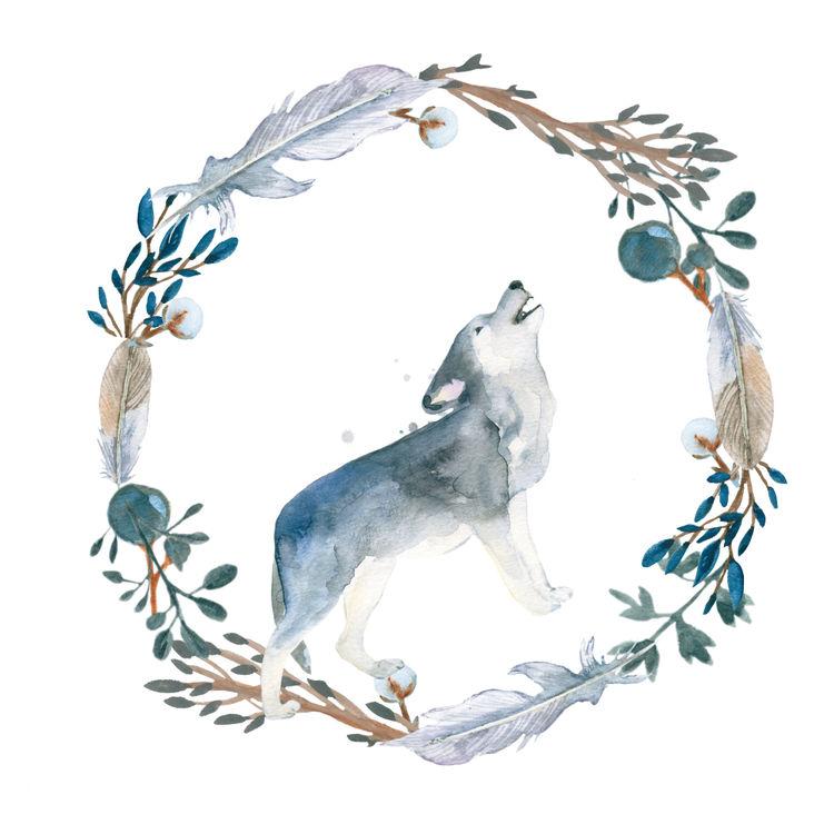 Watercolor Blue Wolf Wreath