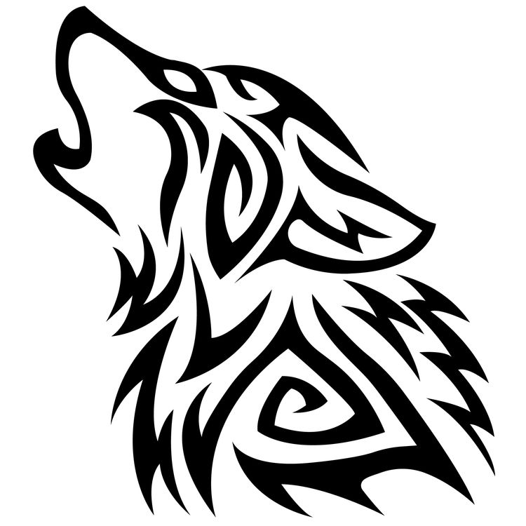 Left Tribal Howling Wolf