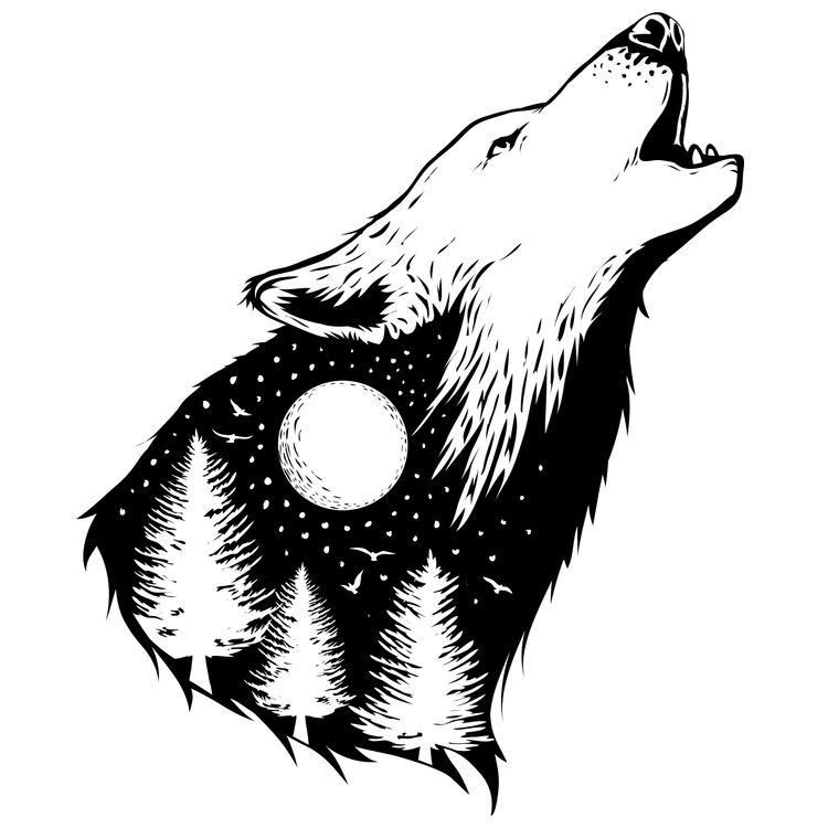 Moon and Forest Howling Wolf