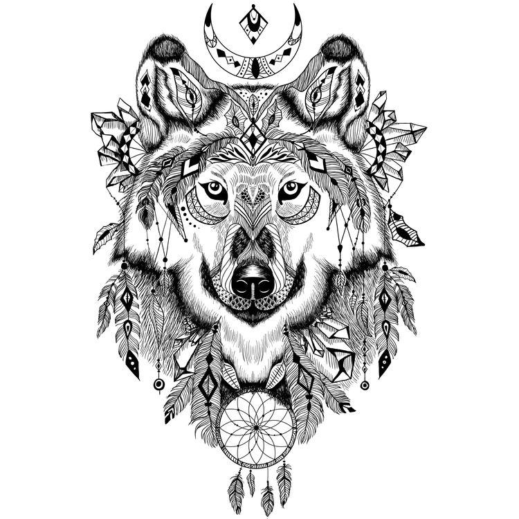 Native Moon Wolf
