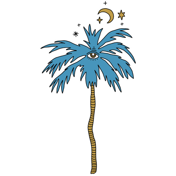 Blue Palm and Moon Eye