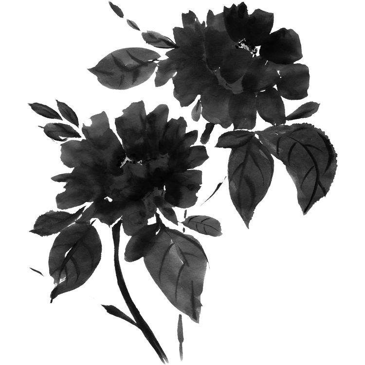 Watercolor Black Blossoms