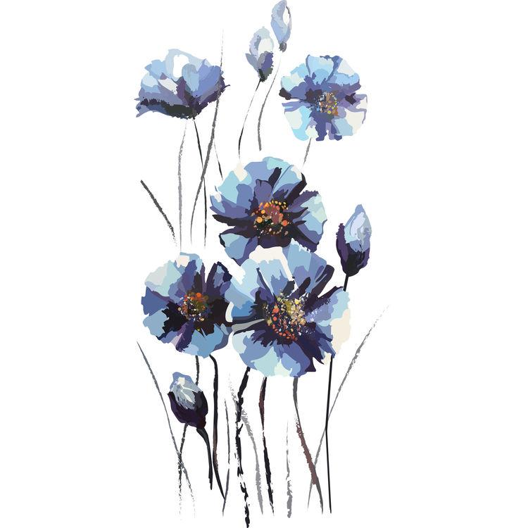 Dark Blue Rising Florals