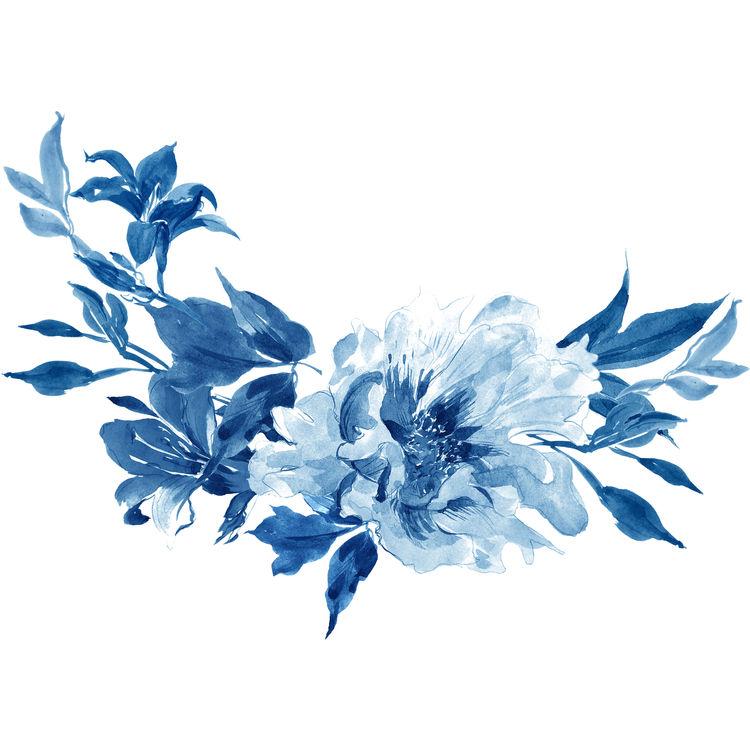 Watercolor Winter Blue Florals