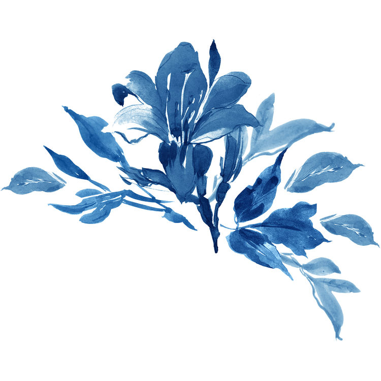 Watercolor Blue Blossomed Flower