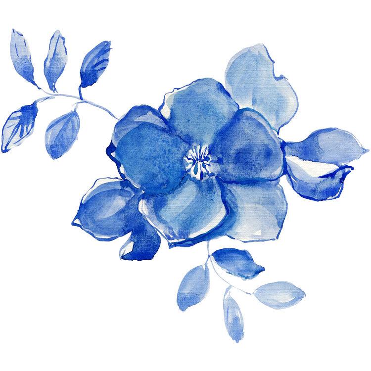 Watercolor Blue Ocean Flower