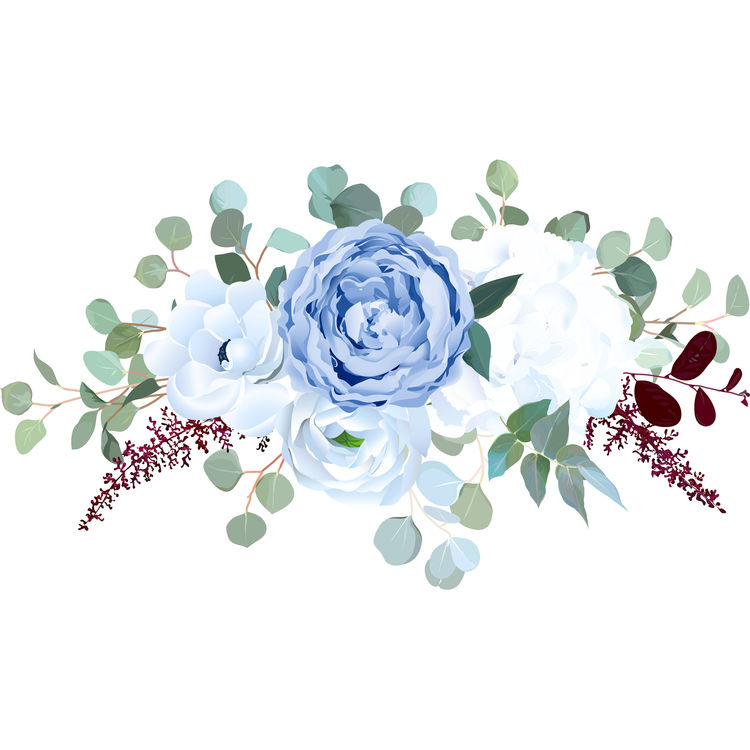 Watercolor Soft Blue Arrangement