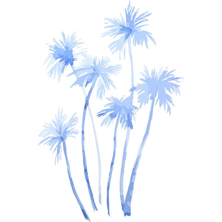 Watercolor Blue Palms