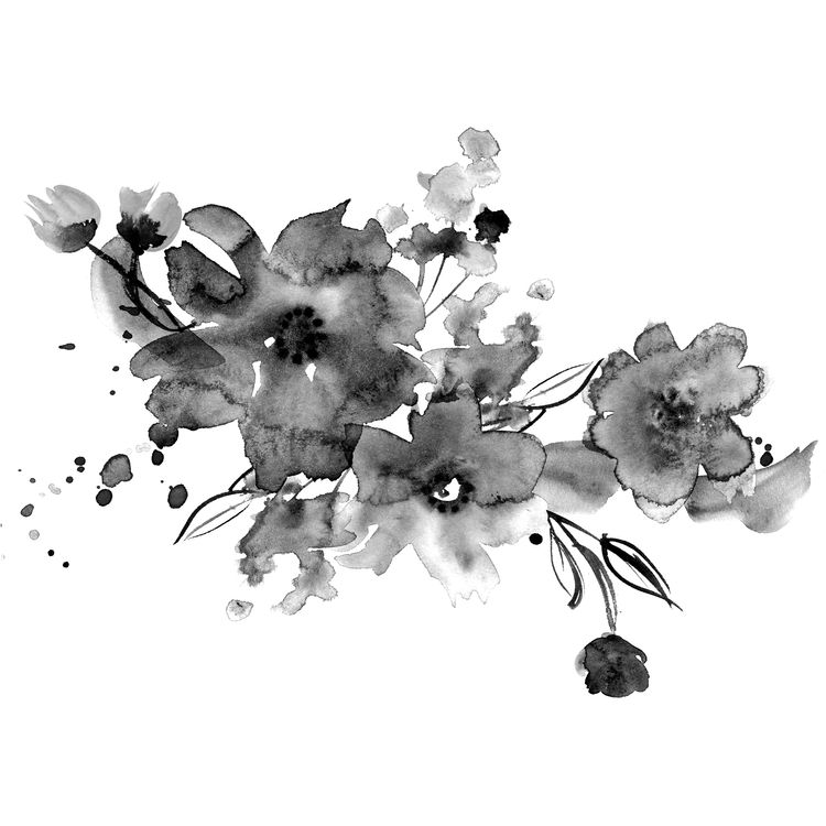 Watercolor Faded Flowers