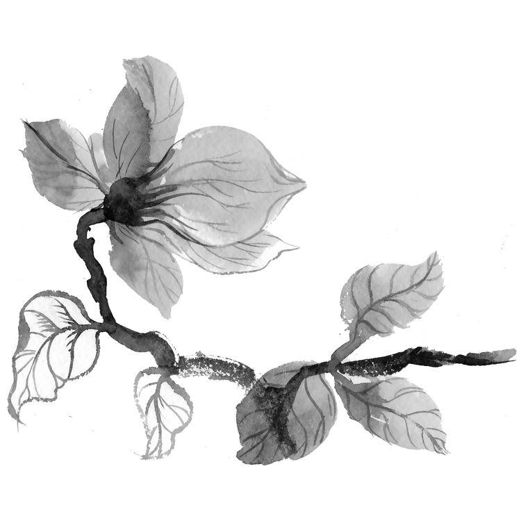Watercolor Gray Flower