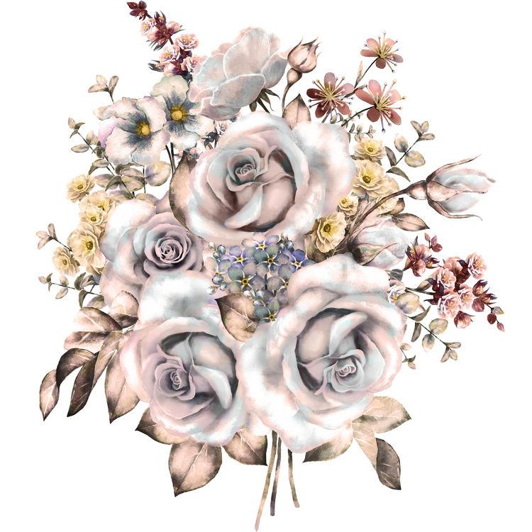 Watercolor Light Mauve Flowers