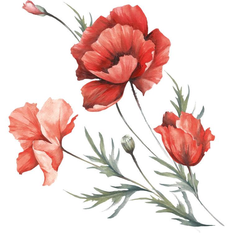 Deep Orange Watercolor Florals