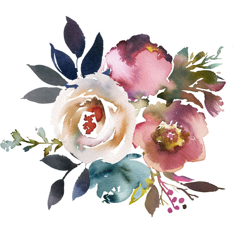 Watercolor Pink and Blue Florals