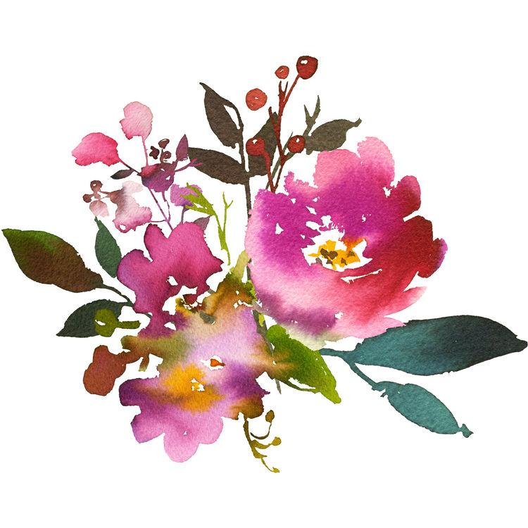 Tropical Watercolor Blooms