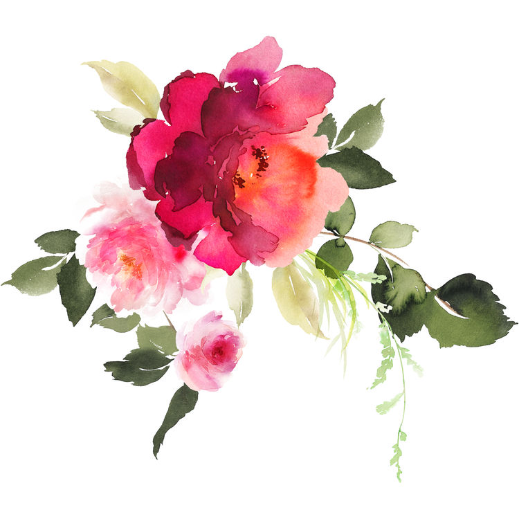 Light and Deep Pink Watercolor Florals