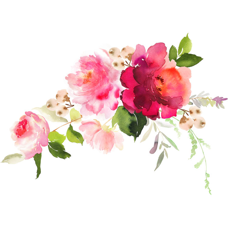 Shades of Pink Watercolor Florals