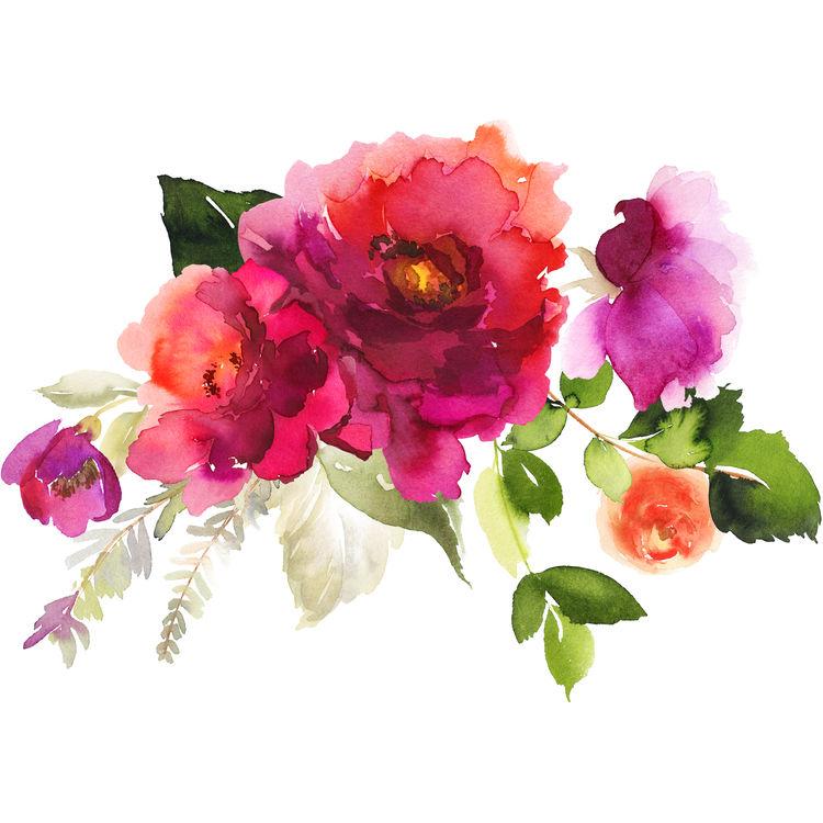 Deep Pink Watercolor Florals