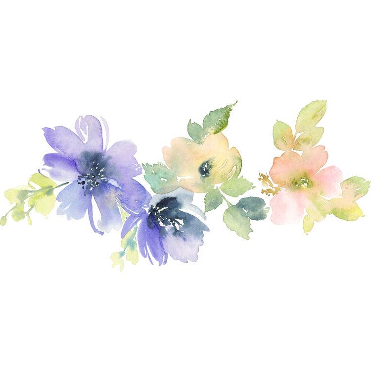 Watercolor Purple Blossoms
