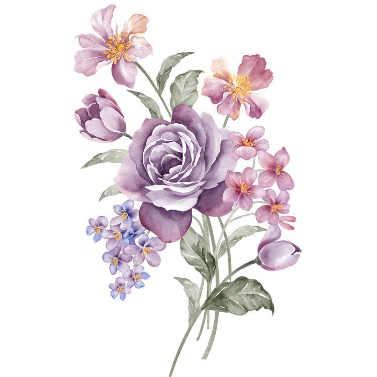 Watercolor Soft Plum Blooms