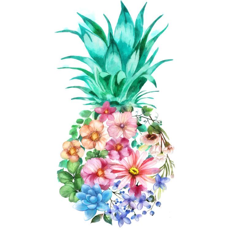 Hawaiian Floral Pineapple