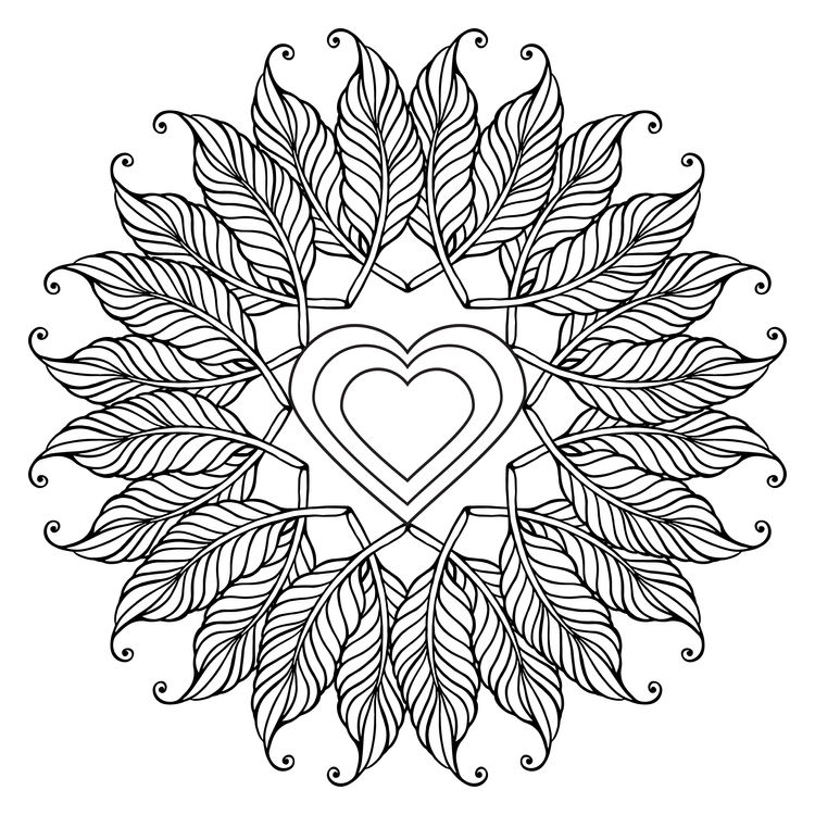 Heart Feathered Mandala