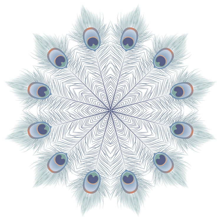 Soft Blue Peacock Mandala