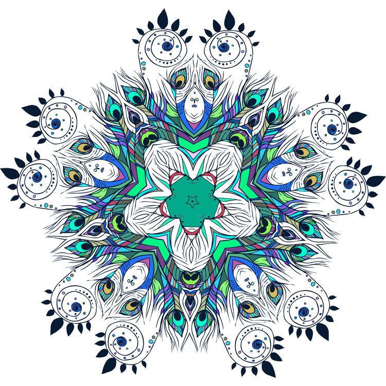 Blue Peacock Mandala