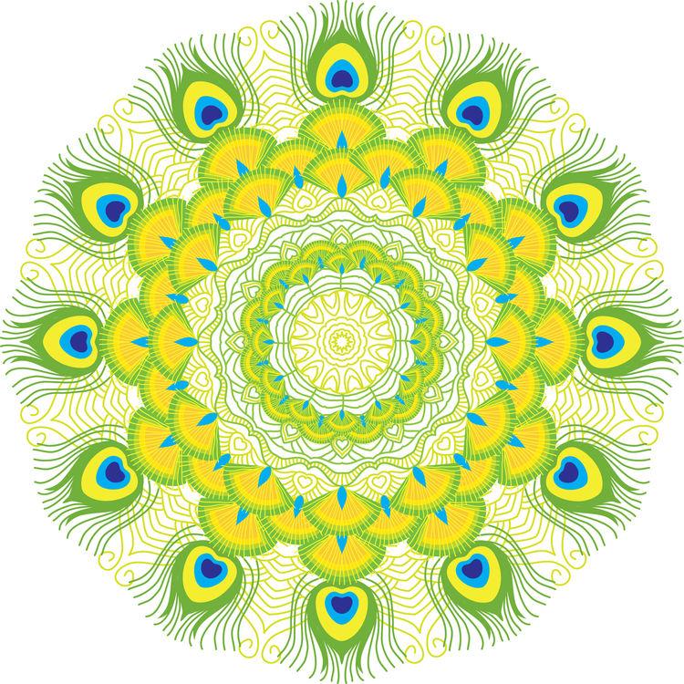 Lime Green Peacock Mandala