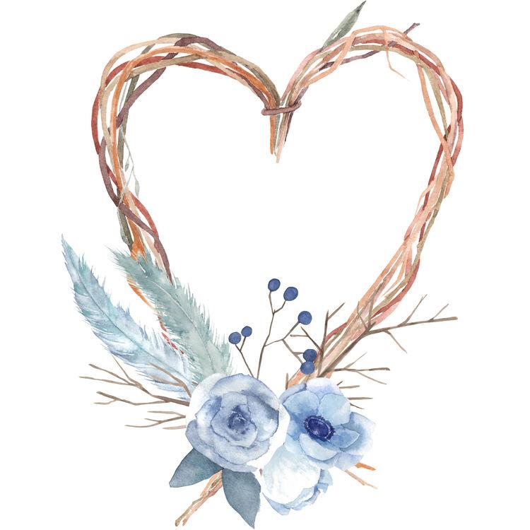 Blue Floral Twig Heart