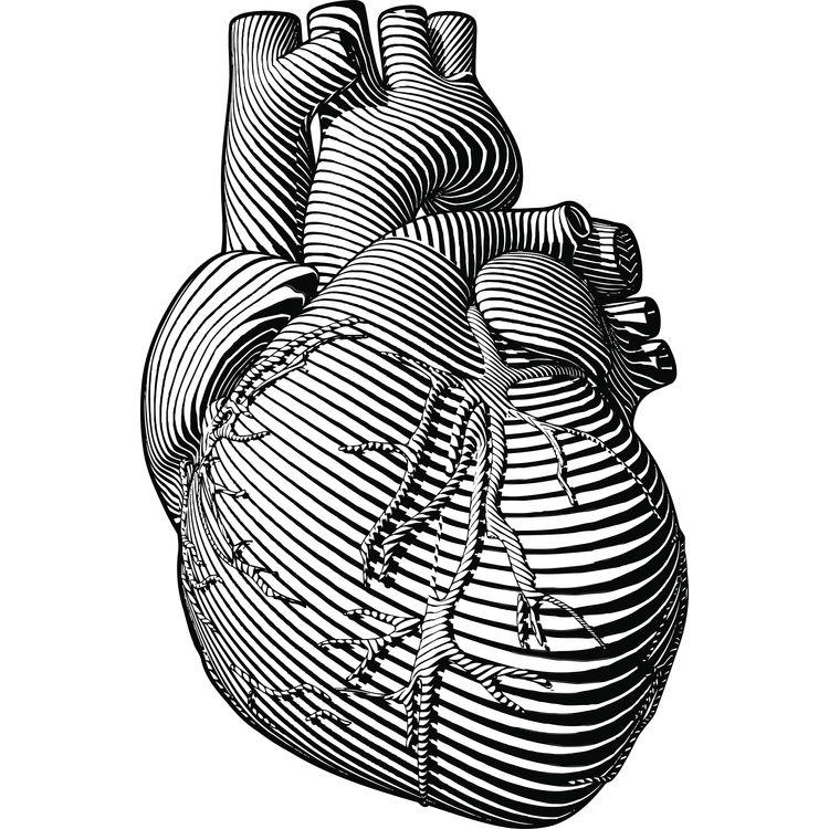 Open Striped Heart