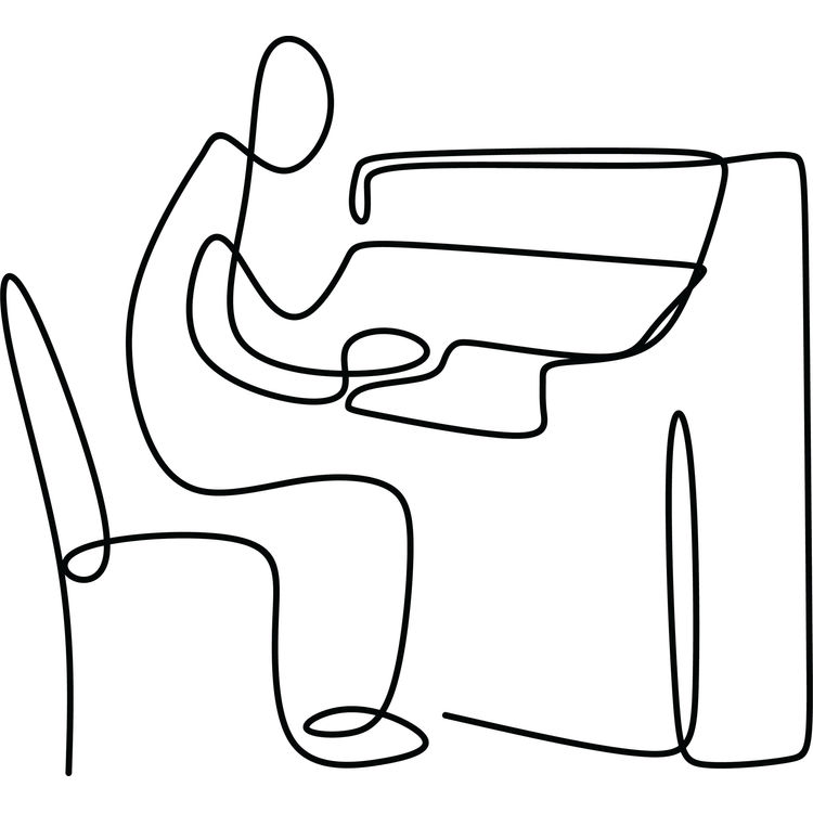 Piano Playing Continuous Drawing Line