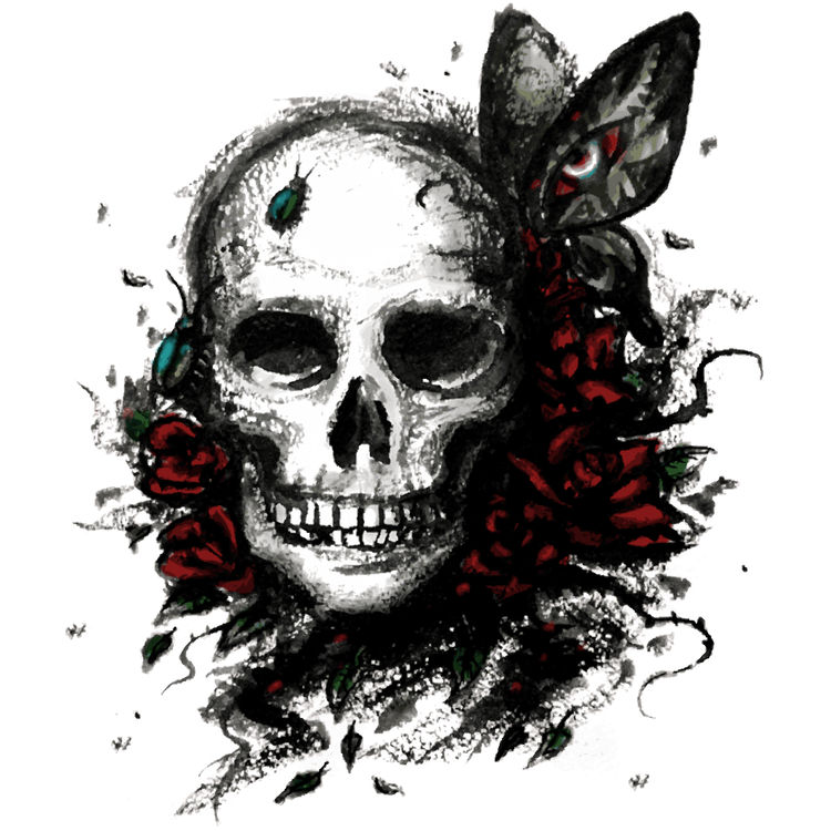 Midnight Rose and Butterfly Skull