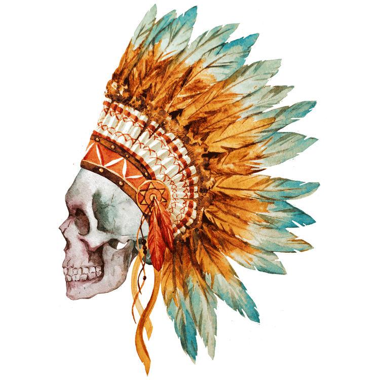 Orange Native Skull