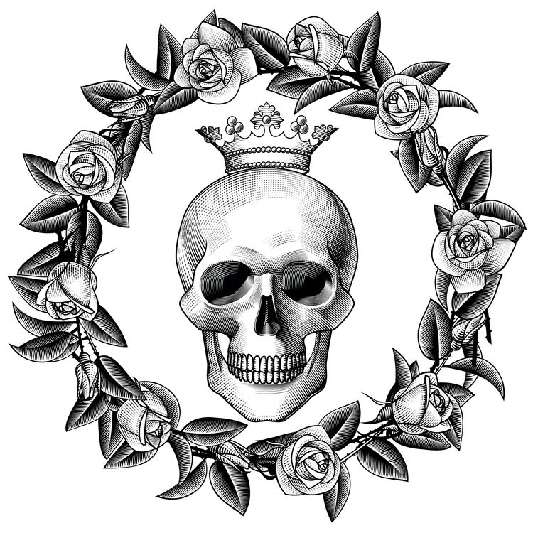 Rose Wreath Skull