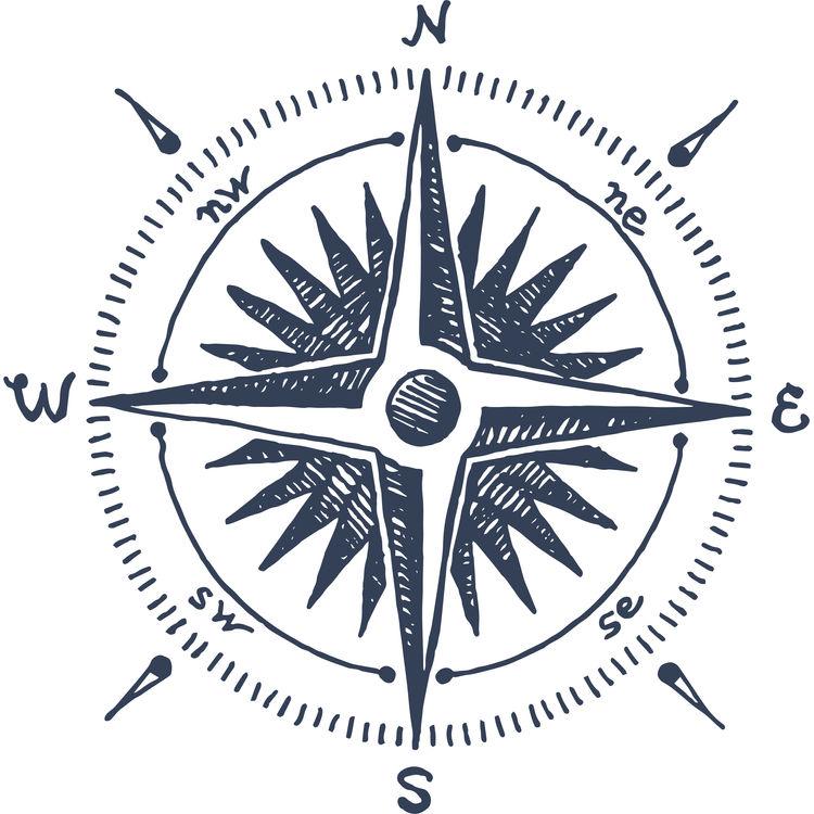 Dark Blue Compass Windrose