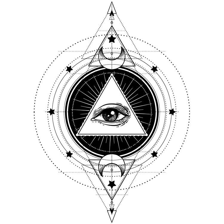 Geometric Eye and Moon