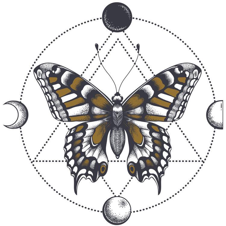 Geometric Moon Butterfly