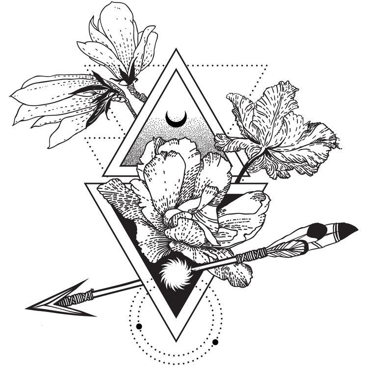 Geometric Floral Moon