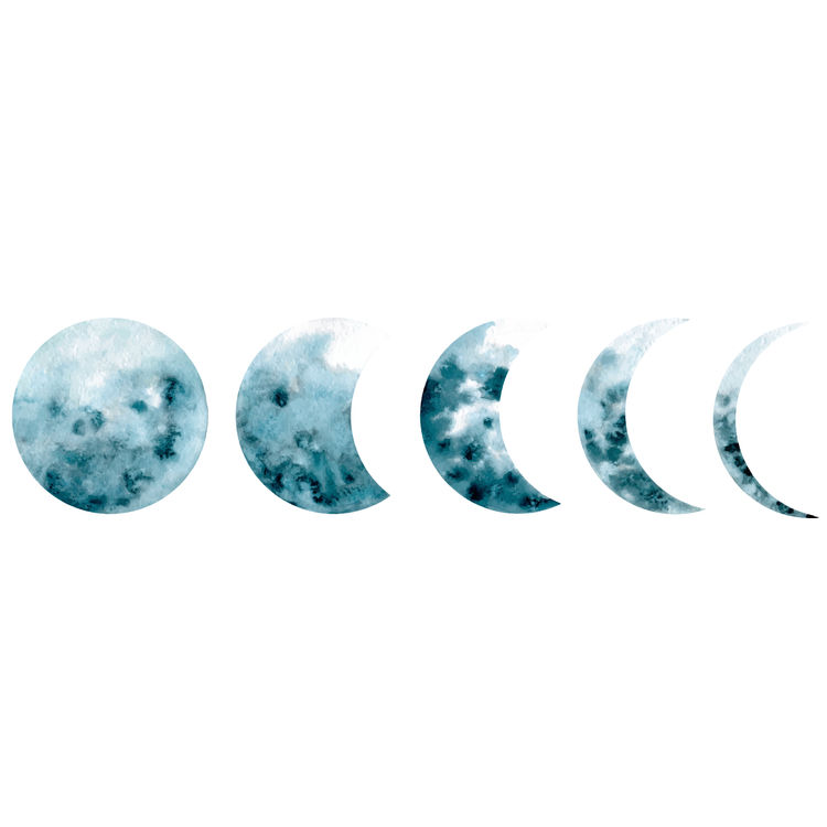 Blue Painted Evolution of the Moon