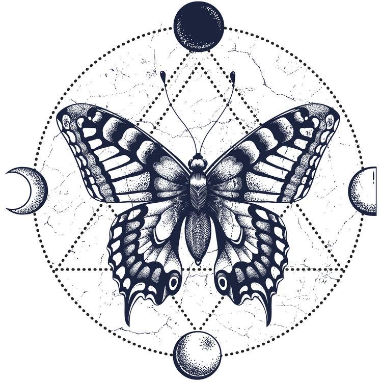 Geometric Butterfly Moon