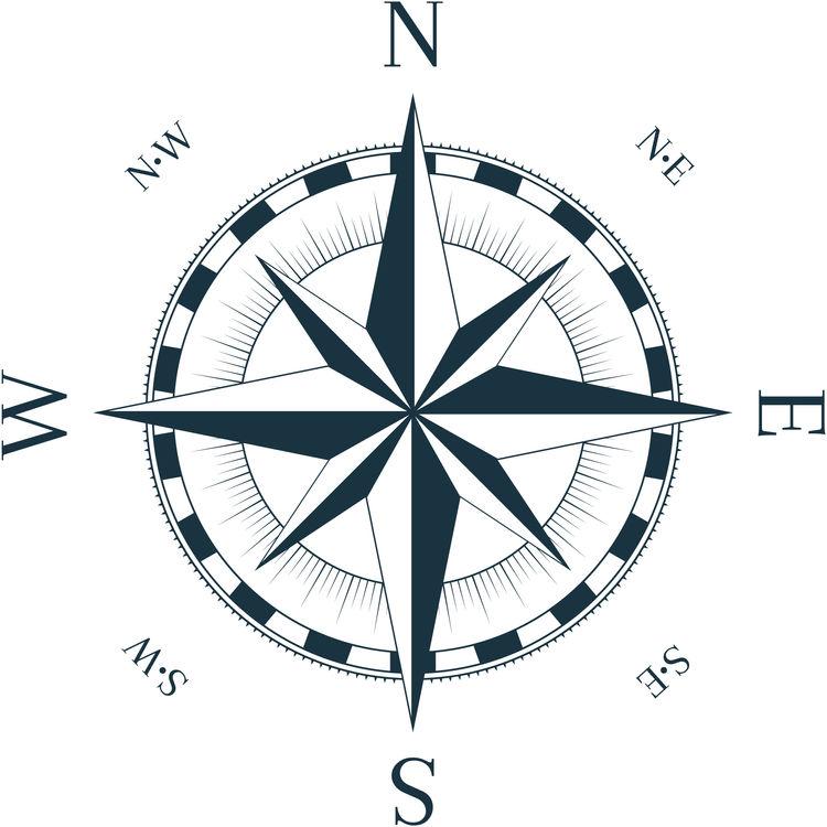 Dark Blue Vintage Nautical Windrose
