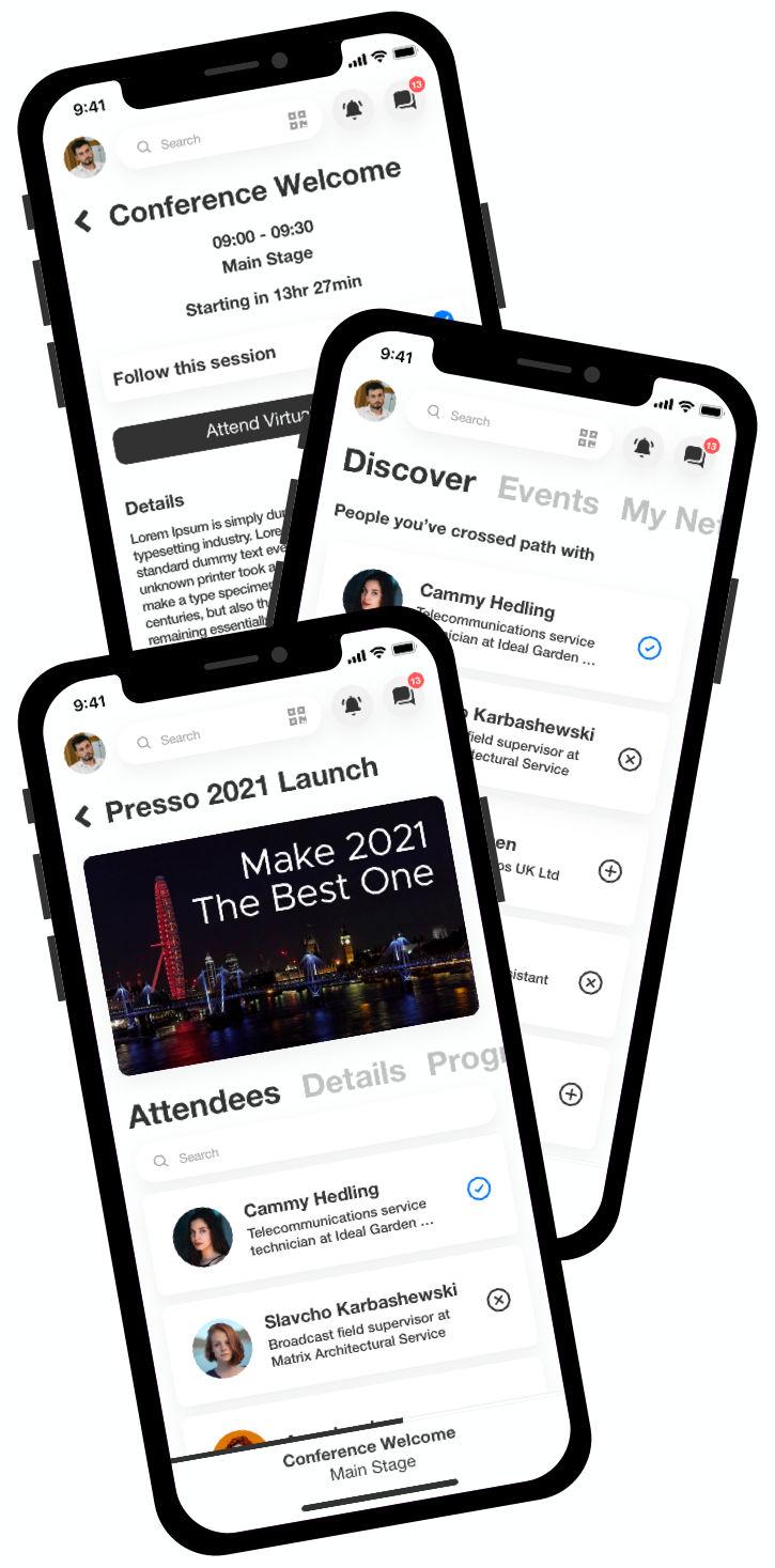 Phone showing Presso Event Program