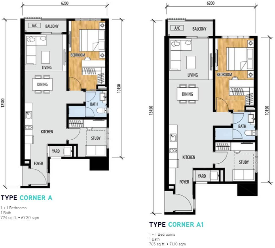 Sentral Suites Layout type corner a