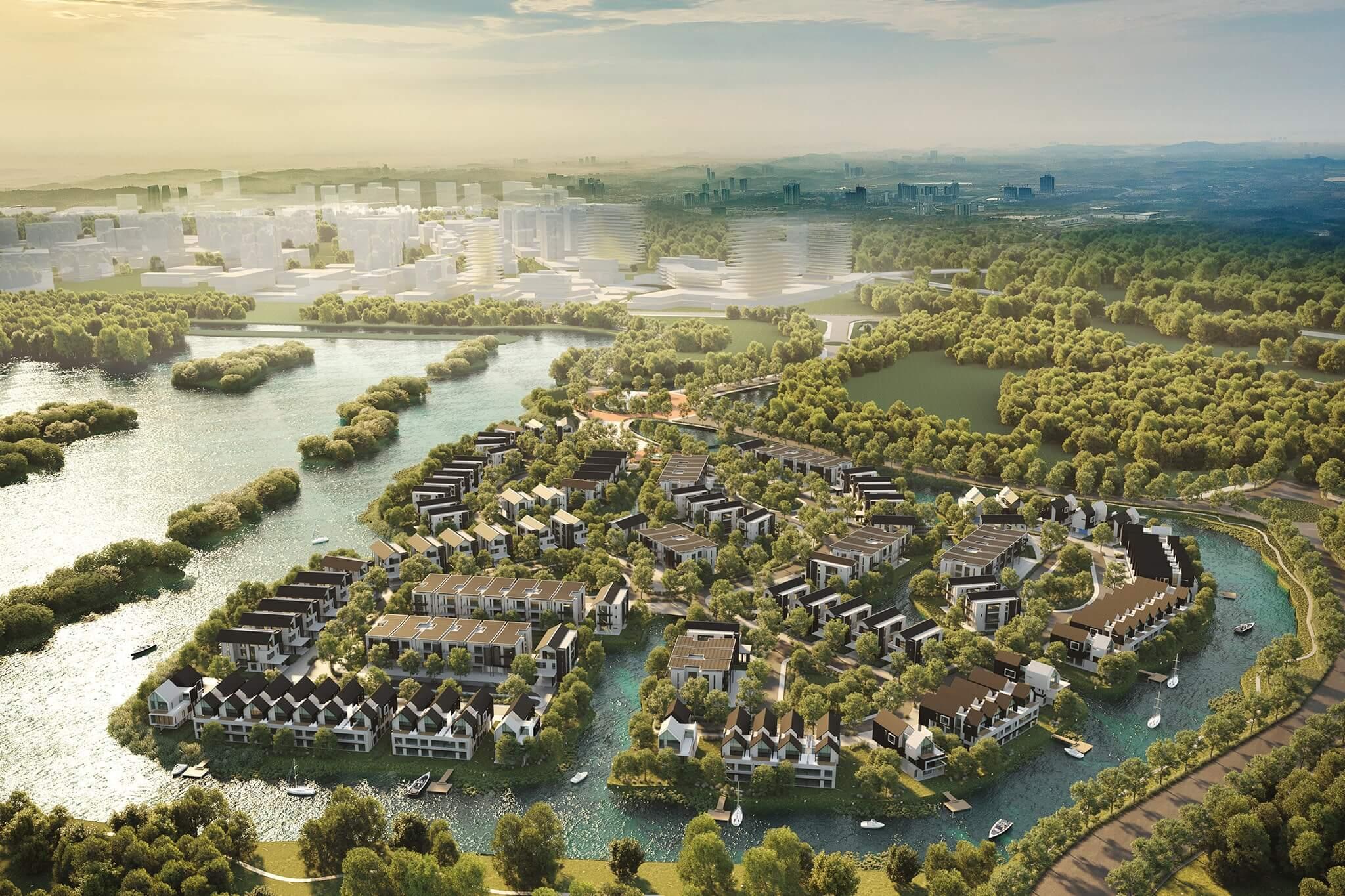 waterfront estates aerial view
