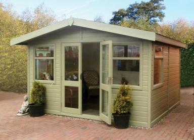 12' x 10' cedar Studio Apex with coloured external finish