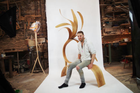 Palm Bench - Charlie Whinney Studio. See Charlie & his work in the Artisan Studios of RHS Chelsea Flower Show 2019 (Malvern Garden Buildings)