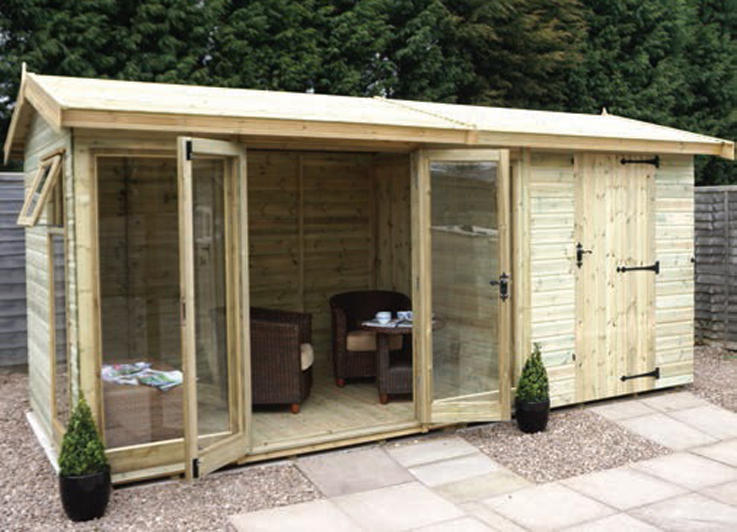 Newland Pavilion with internal partition, external shed door, pressure treated slatted roof, glass to ground windows and doors