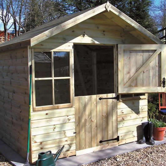 8' x 6' pressure treated Ludlow with stable door and pressure treated slatted roof